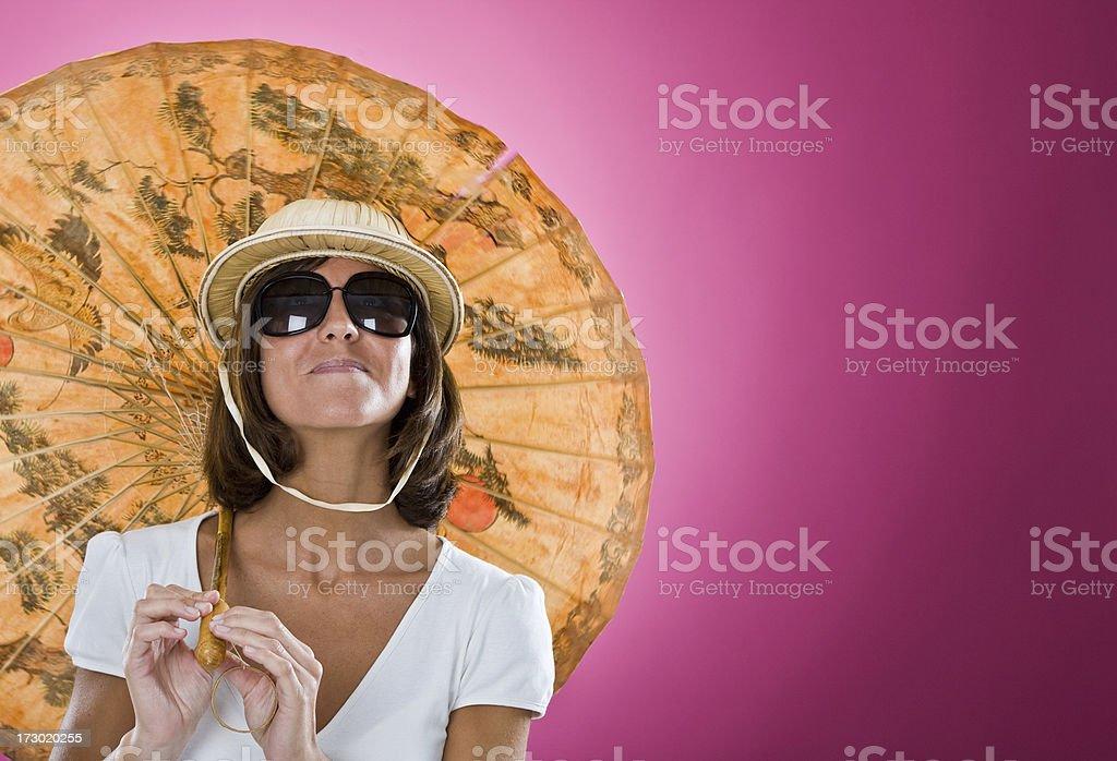 tourist with japanese paper umbrella portrait royalty-free stock photo