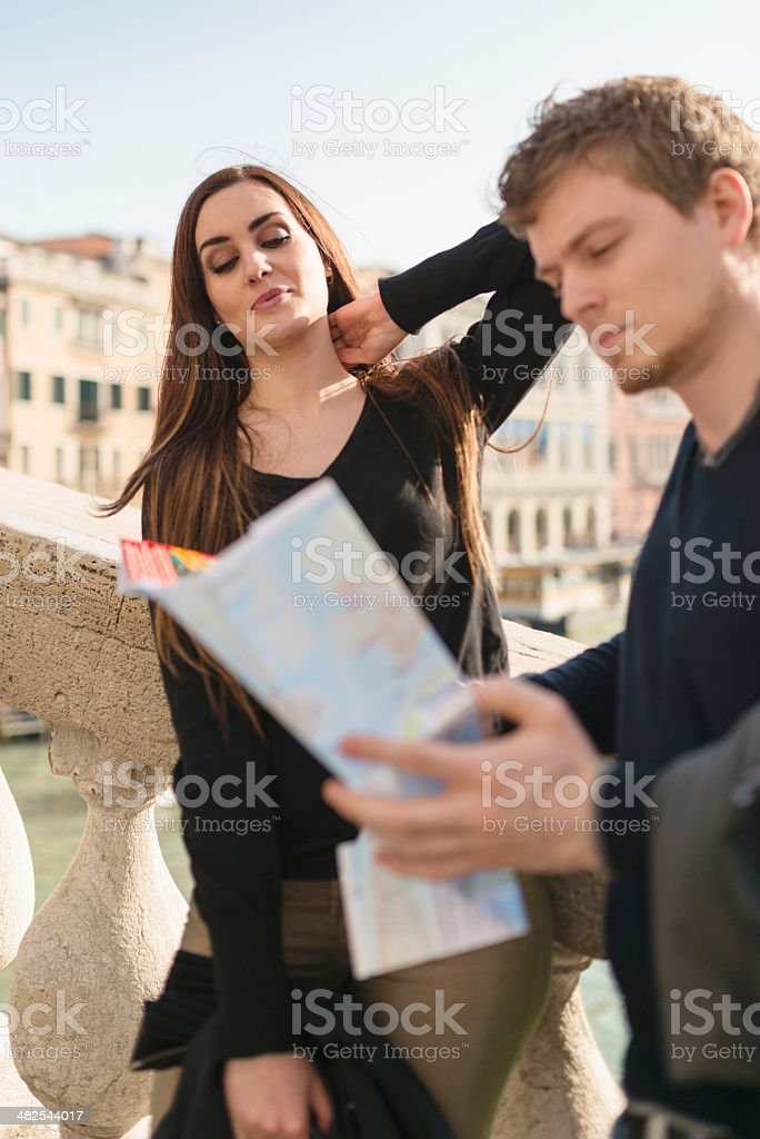 tourist with map in Venice royalty-free stock photo