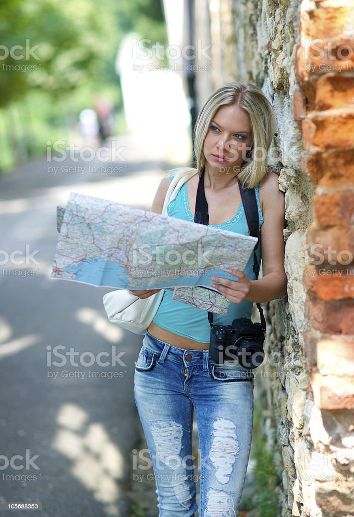 tourist with map royalty-free stock photo