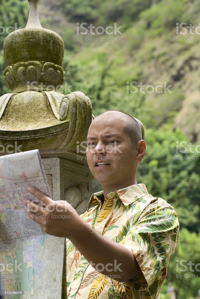 Tourist with map. royalty-free stock photo