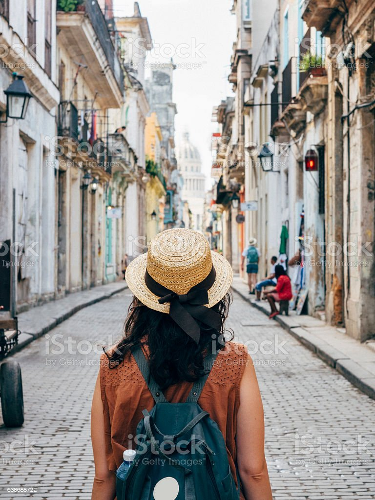 Tourist woman in La Havana city, Cuba stock photo
