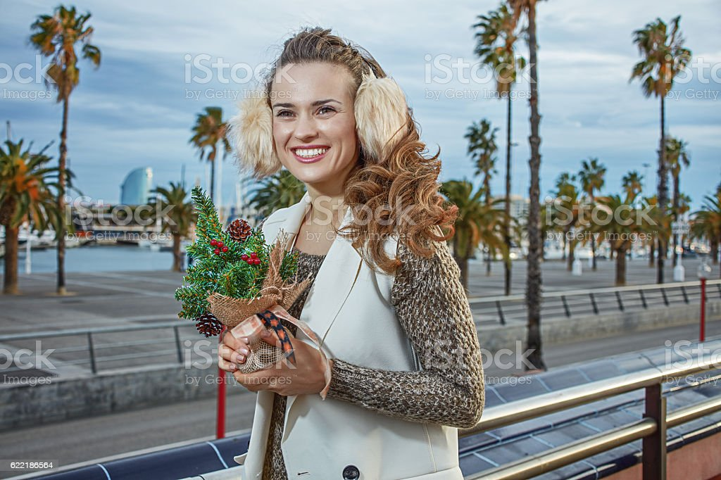 tourist woman looking into distance while holding little Christm stock photo
