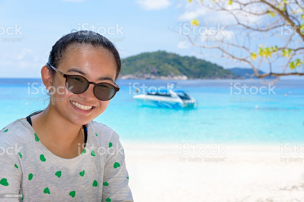 Tourist woman on the beach at Similan islands, Thailand stock photo