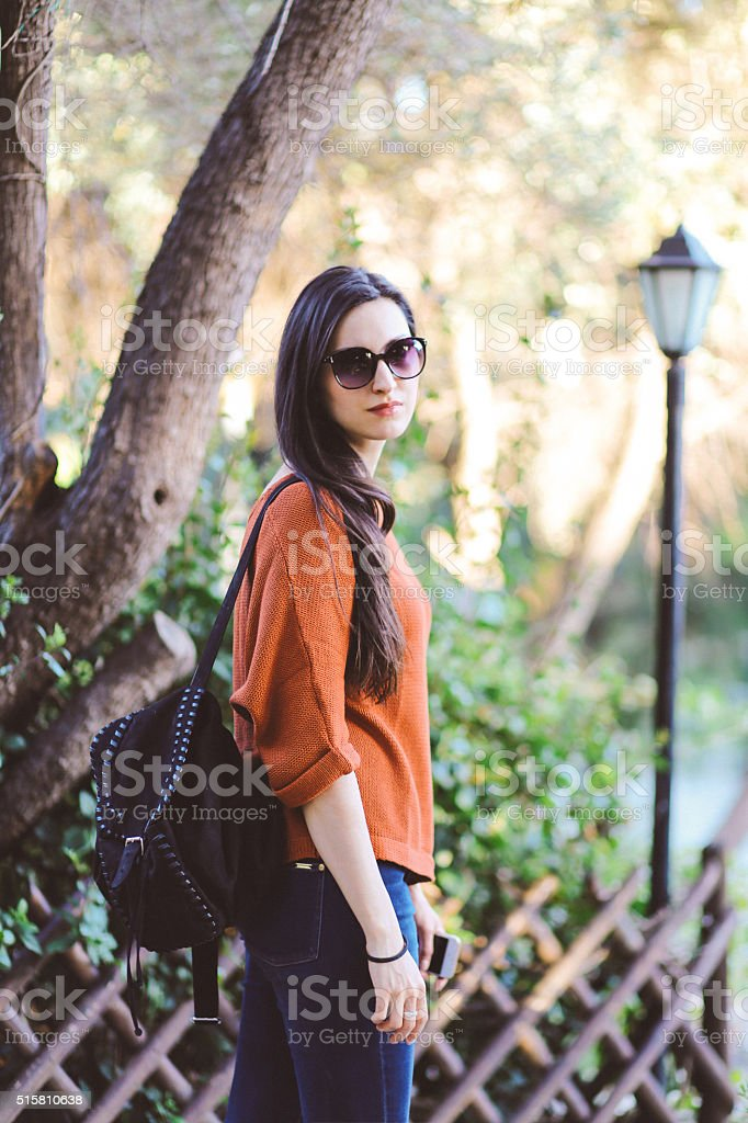 Tourist woman walking in the park in Athens, Greece stock photo