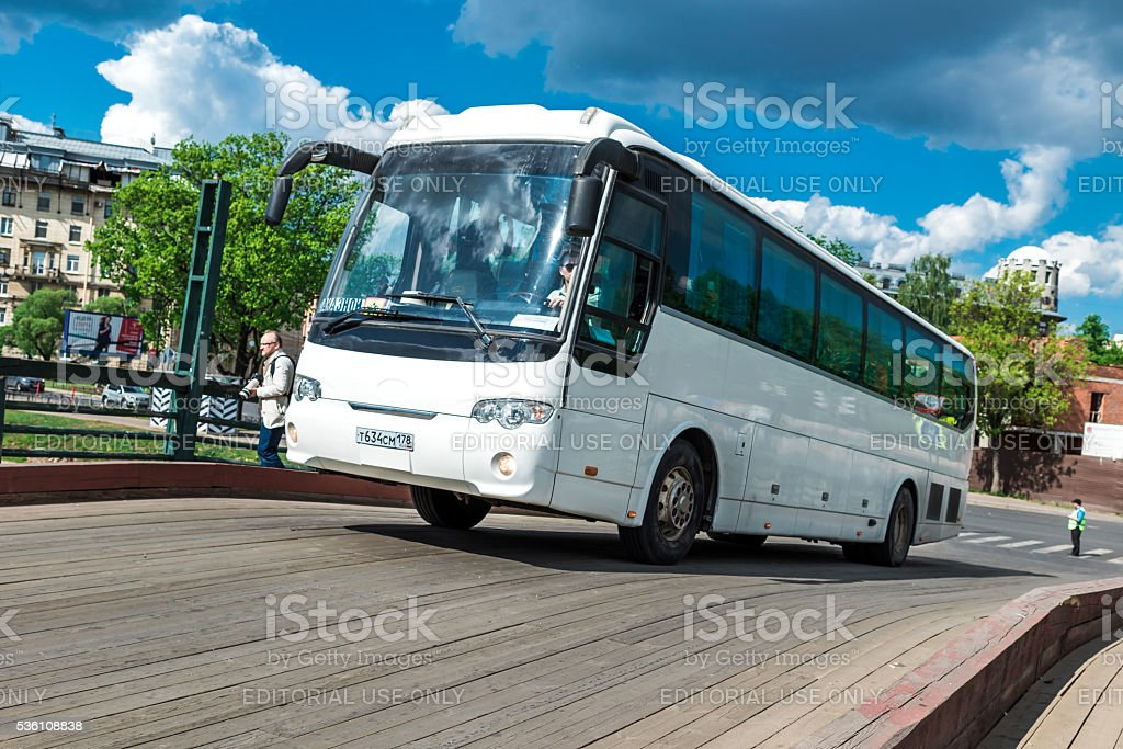 Touristic bus in St.Petersburg stock photo