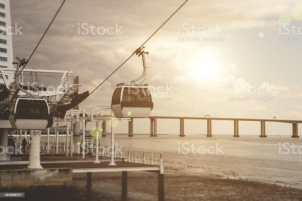 Touristic cable car in Lisbon royalty-free stock photo