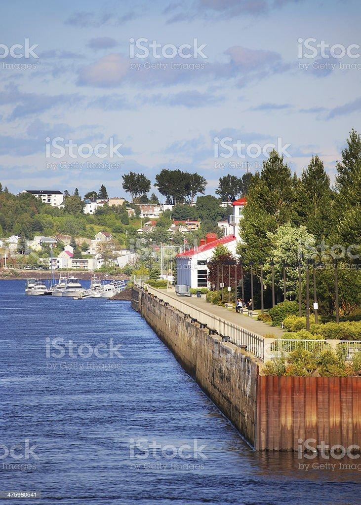Touristic Chicoutimi Old Port in Summer stock photo