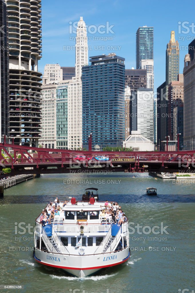 Touristic ferry on Chicago river stock photo