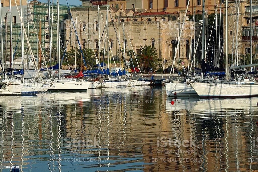 Touristic harbour - La Cala. Palermo stock photo