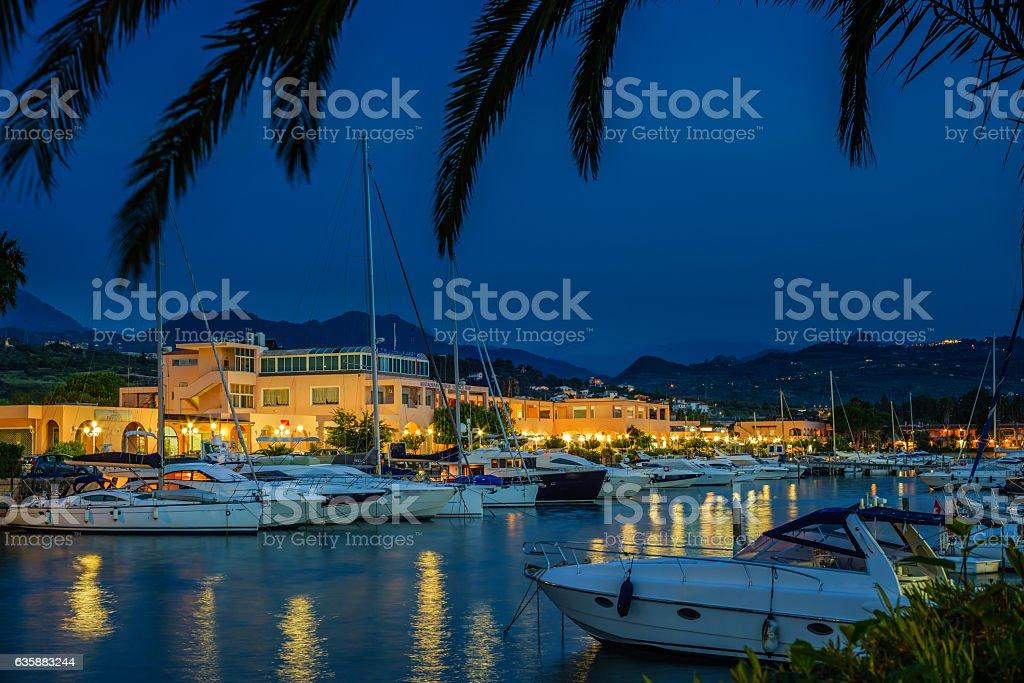 touristic port at night,  Portorosa, Sicily stock photo