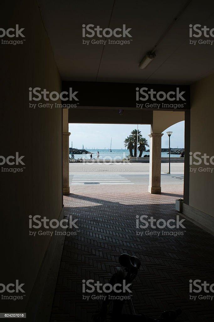 touristic port of Rome in Ostia lido stock photo