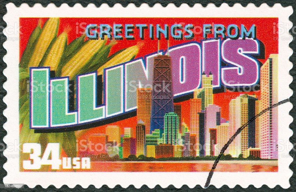 A touristic postal stamp of Illinois stock photo