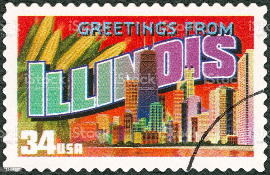 A touristic postal stamp of Illinois stock photo
