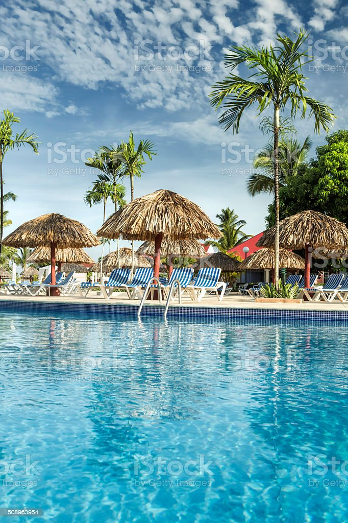 Touristic resort at caribbean stock photo