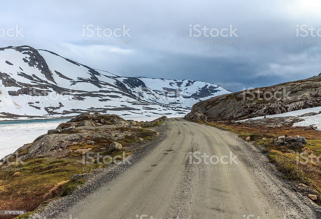 Touristic road 258 in the mountains of Breheimen Nasjonaalpark, Norway. stock photo