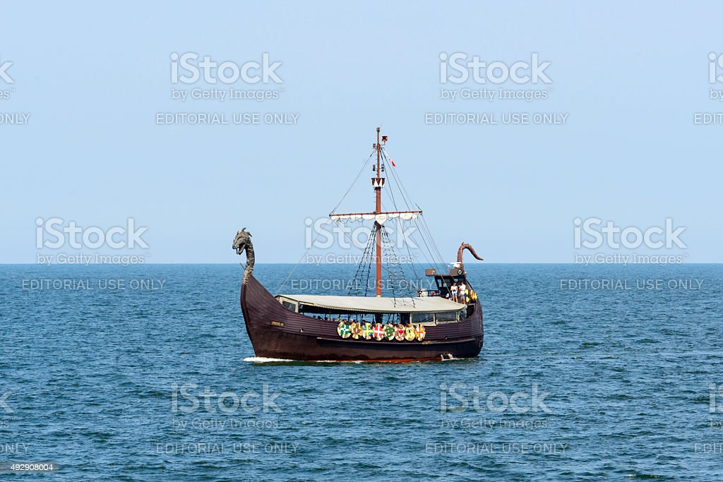 Touristic ship on the Baltic sea stock photo