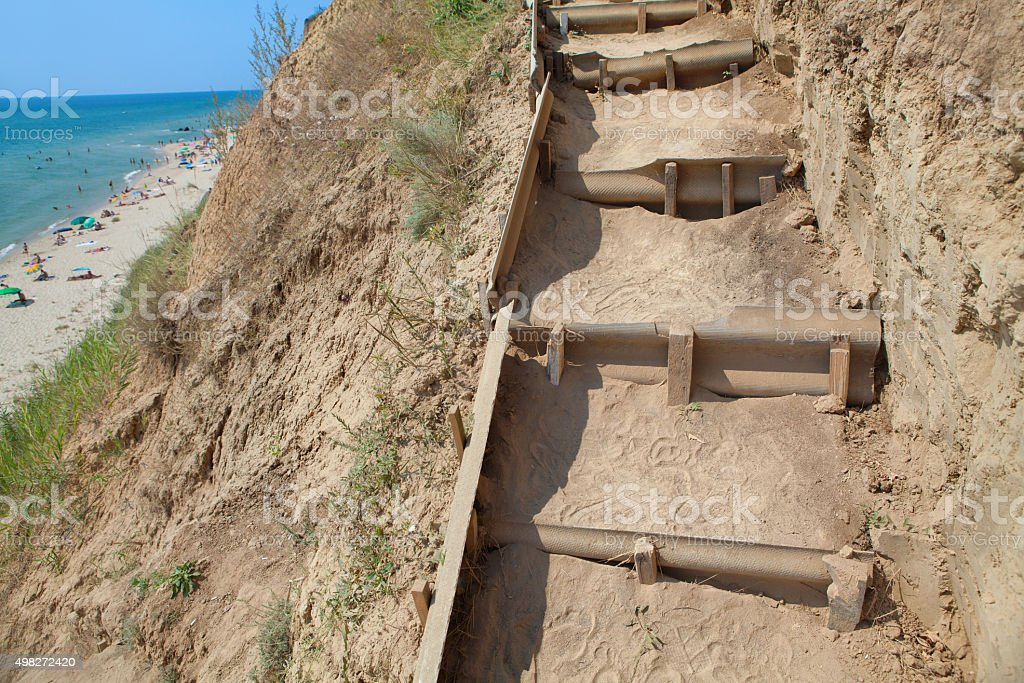 Touristic staircases made of clay stock photo