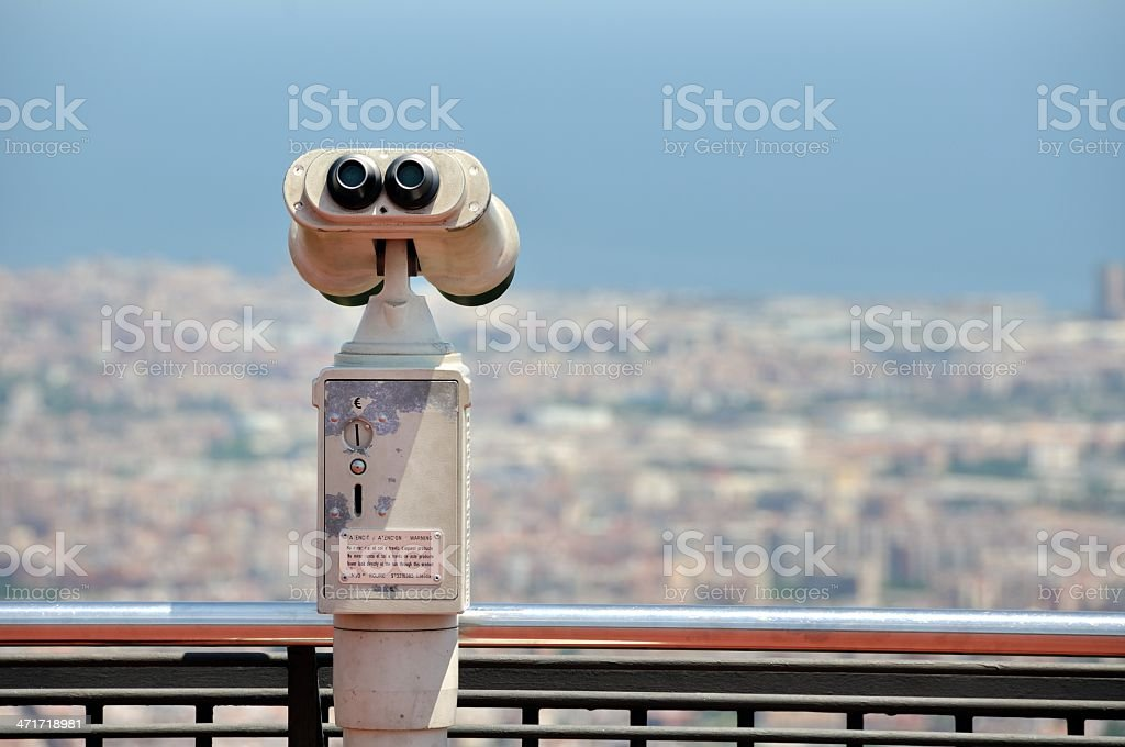 Touristic telescope with view of Barcelona stock photo