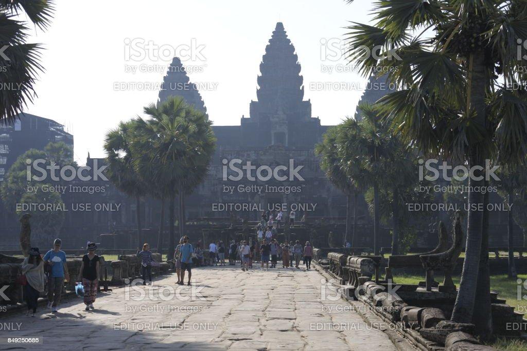 Tourists and Angkor Wat stock photo