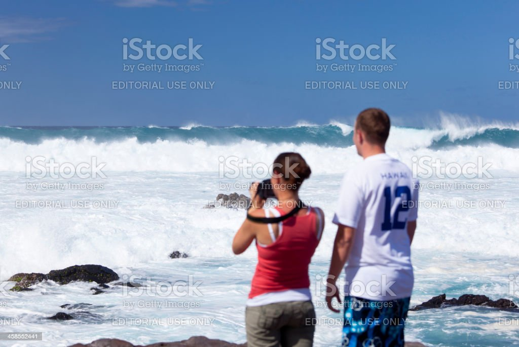 Tourists  And Breaking Waves, Maui stock photo