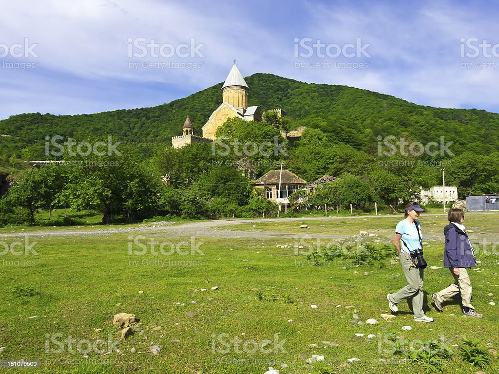Tourists and Church stock photo