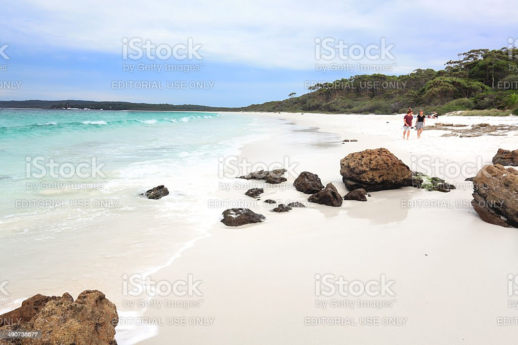 Tourists and holiday makers at Hyams Beach Australia stock photo