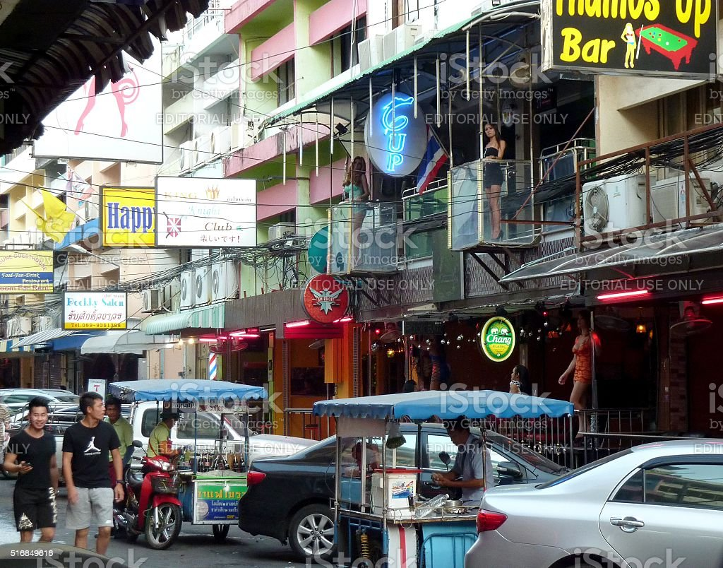Tourists and Ladyboys on Soi 6, Pattaya Thailand stock photo