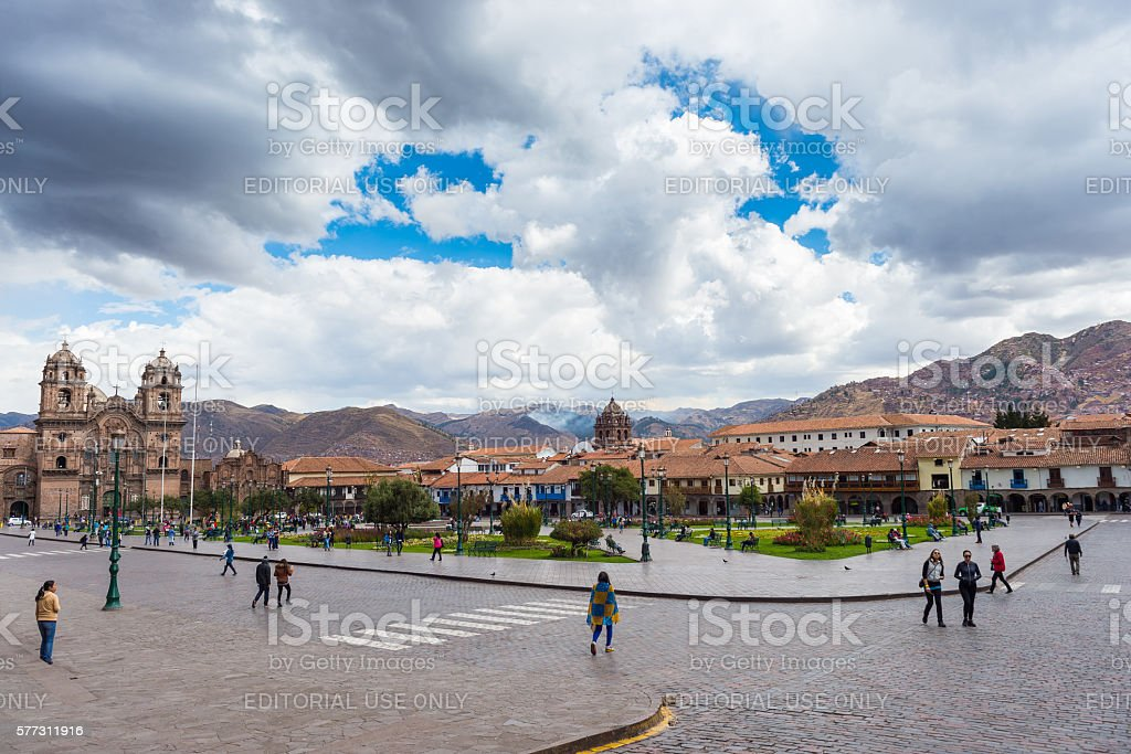 Tourists and local people on main square in Cusco, Peru stock photo