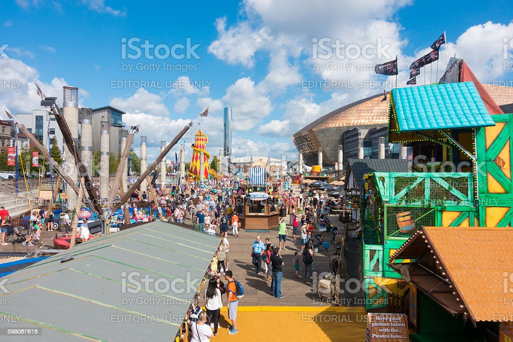Tourists and Locals at the Cardiff Harbour Festival stock photo