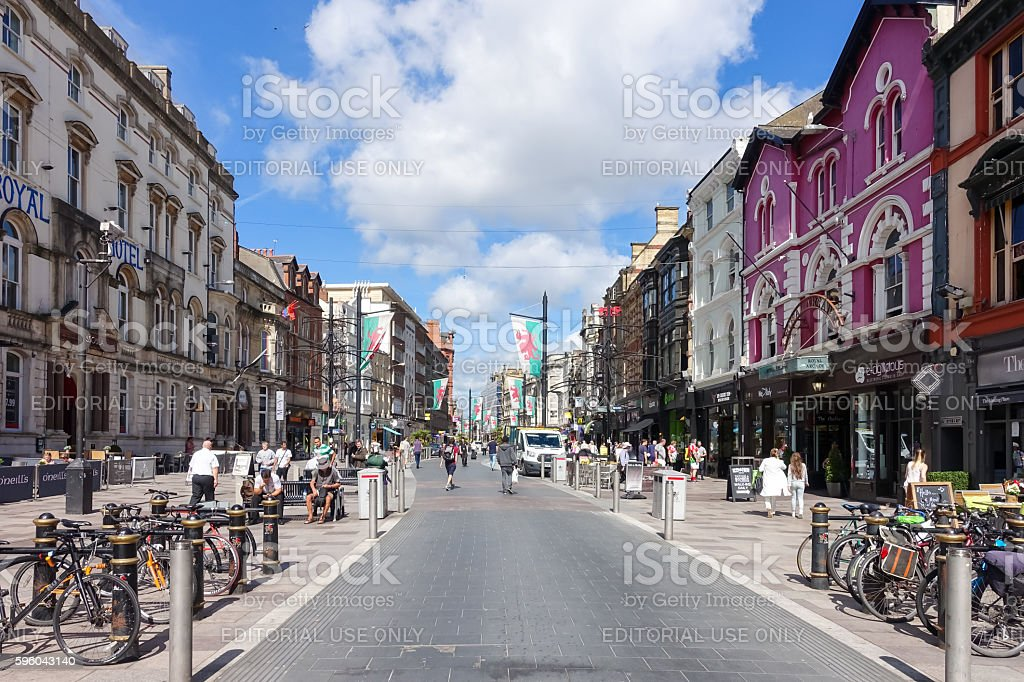 Tourists and locals going shopping in High Street, Cardiff stock photo