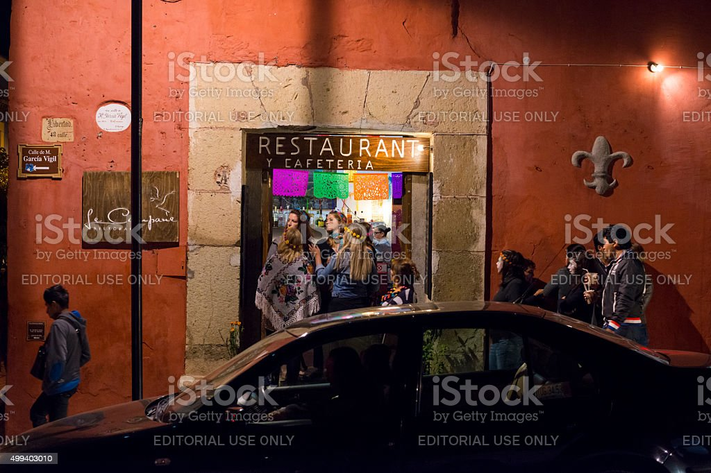 Tourists and locals in Oaxaca, Mexico stock photo