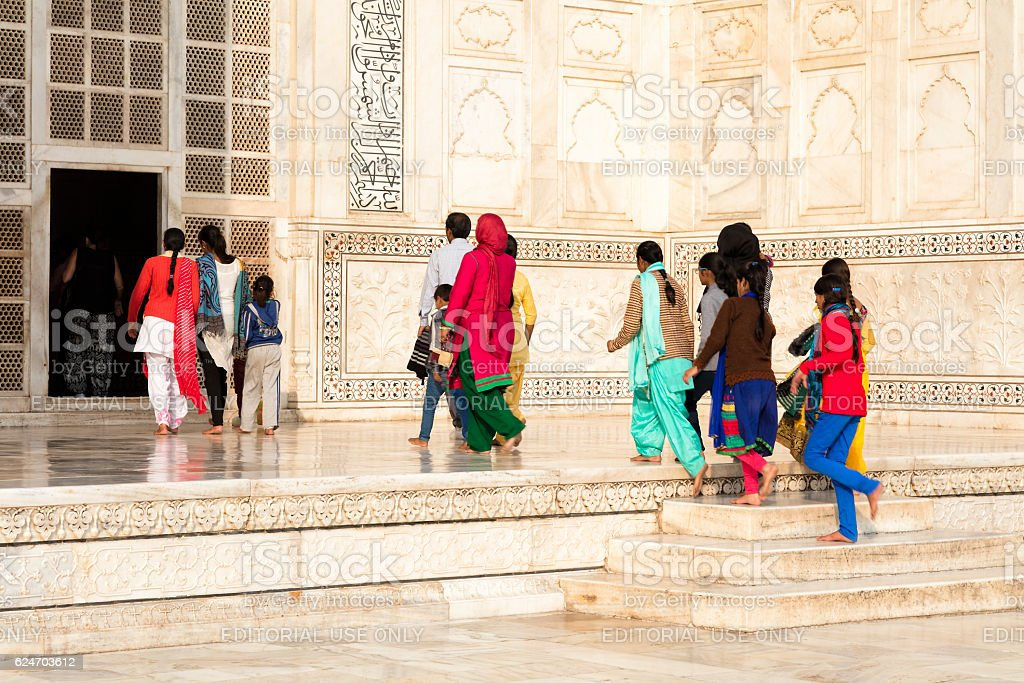 Tourists and Locals Visiting Taj Mahal, Agra, Rajasthan, India, Asia stock photo