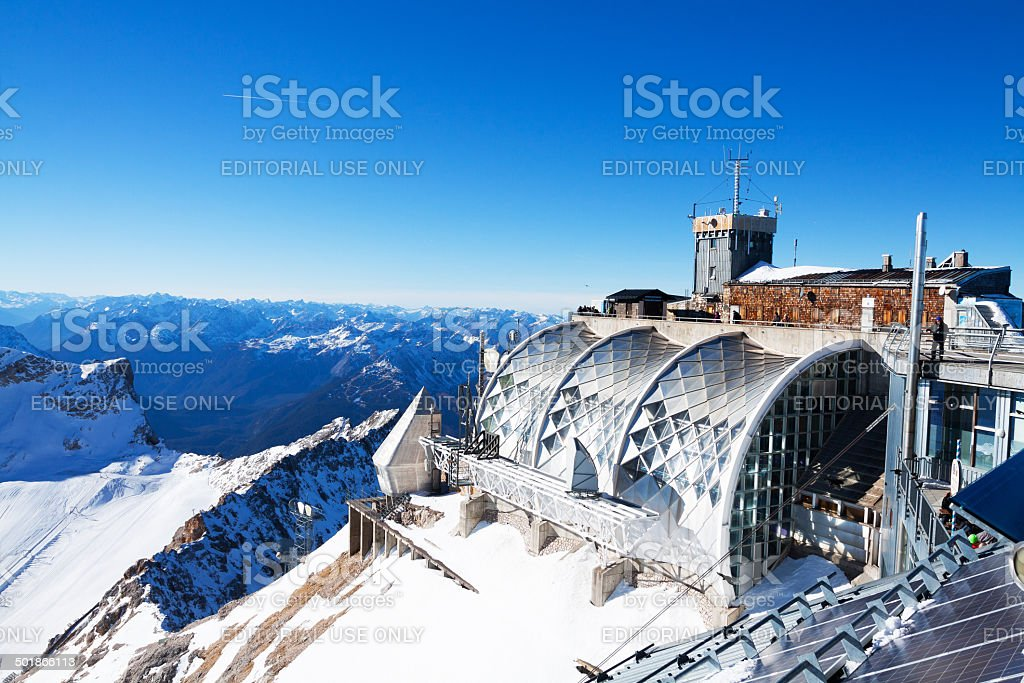 Tourists and station on Zugspitze royalty-free stock photo