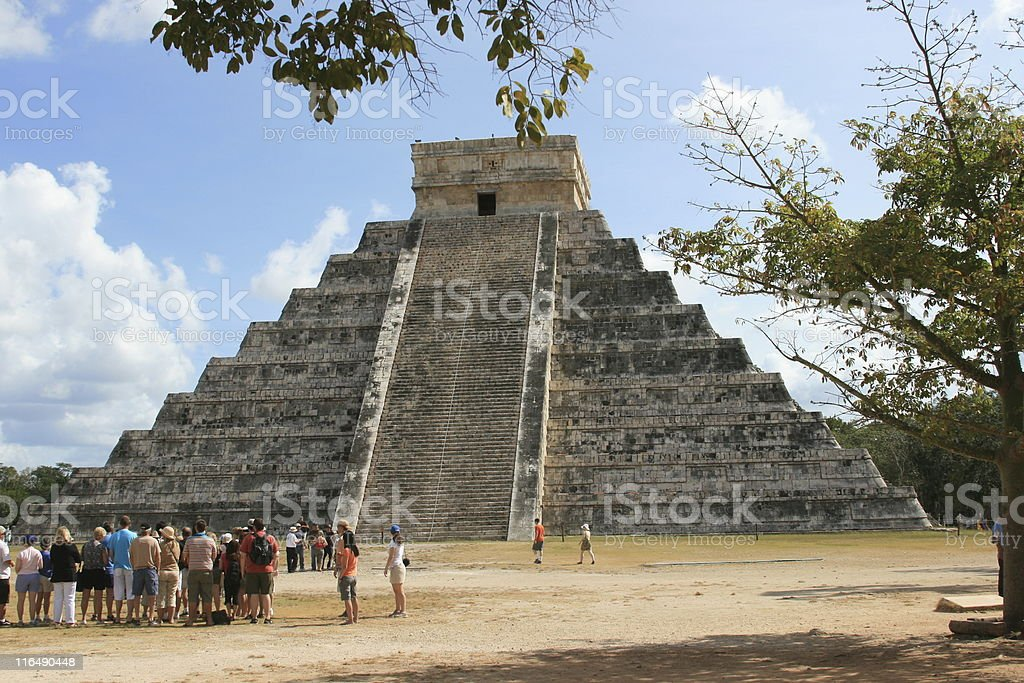 Tourists and The Great Pyramid, Chichen Itza, Mayan ruins, Mexico. royalty-free stock photo