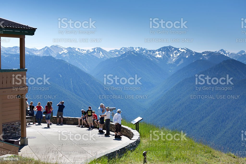Tourists and Visitors at the Visitor Center at Olympic National Park stock photo