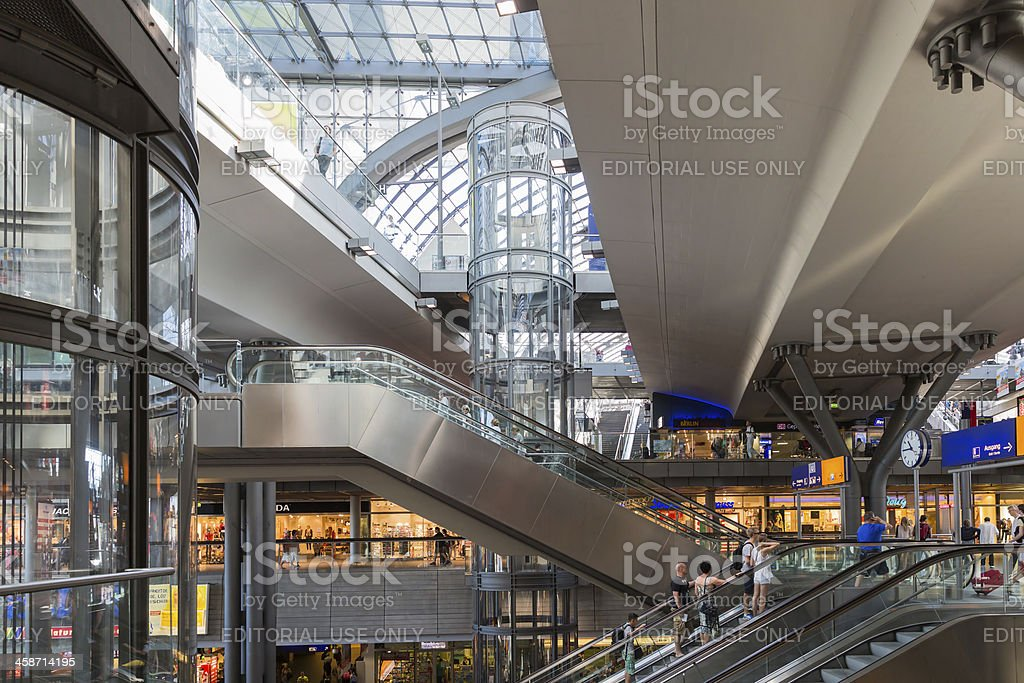 Tourists and workers traveling at the central station of Berlin royalty-free stock photo