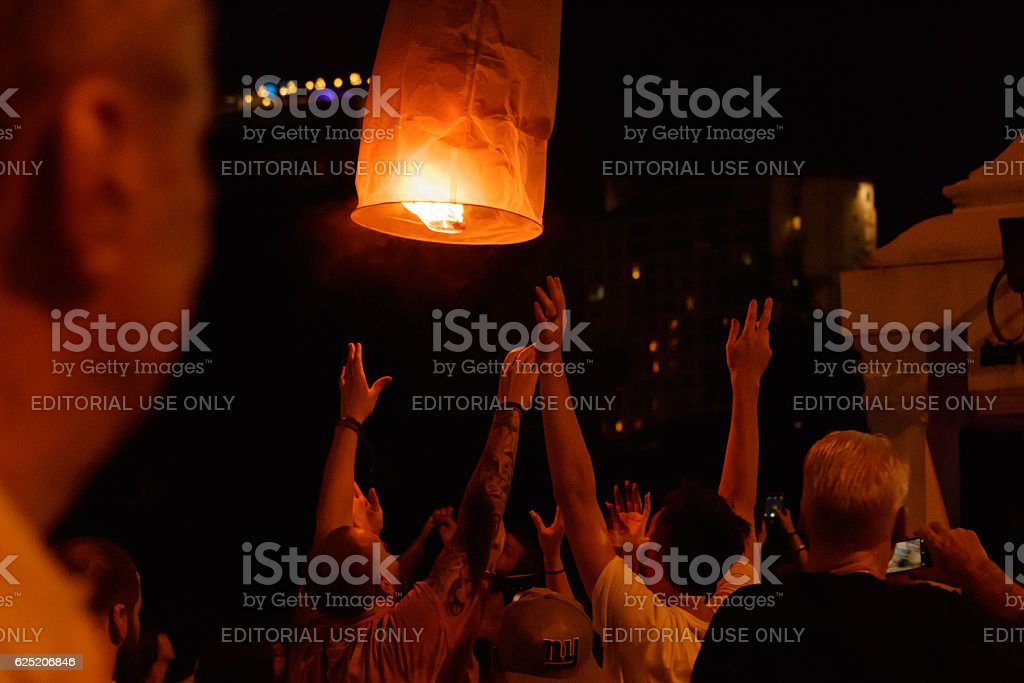 Tourists are launching sky lantern at  Loy Krathong festival stock photo