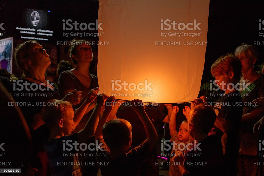 Tourists are launching sky lantern at Thailand stock photo
