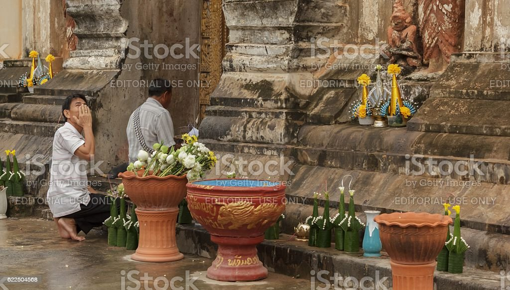 Tourists are to pray seek blessings stock photo
