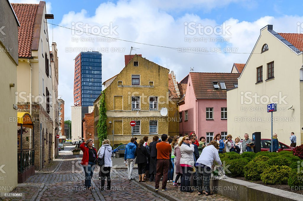 Tourists are visiting attractions on street of Old Town, Klaipeda stock photo