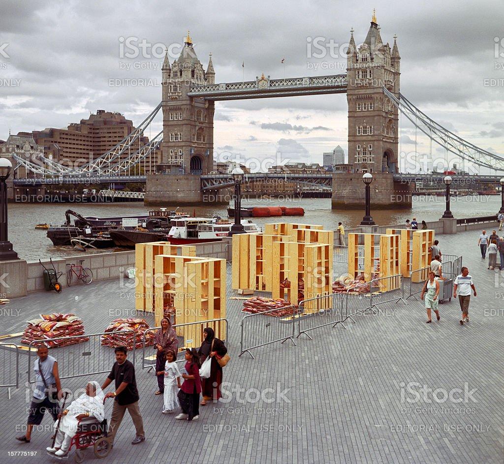 Tourists around Tower Bridge, London stock photo
