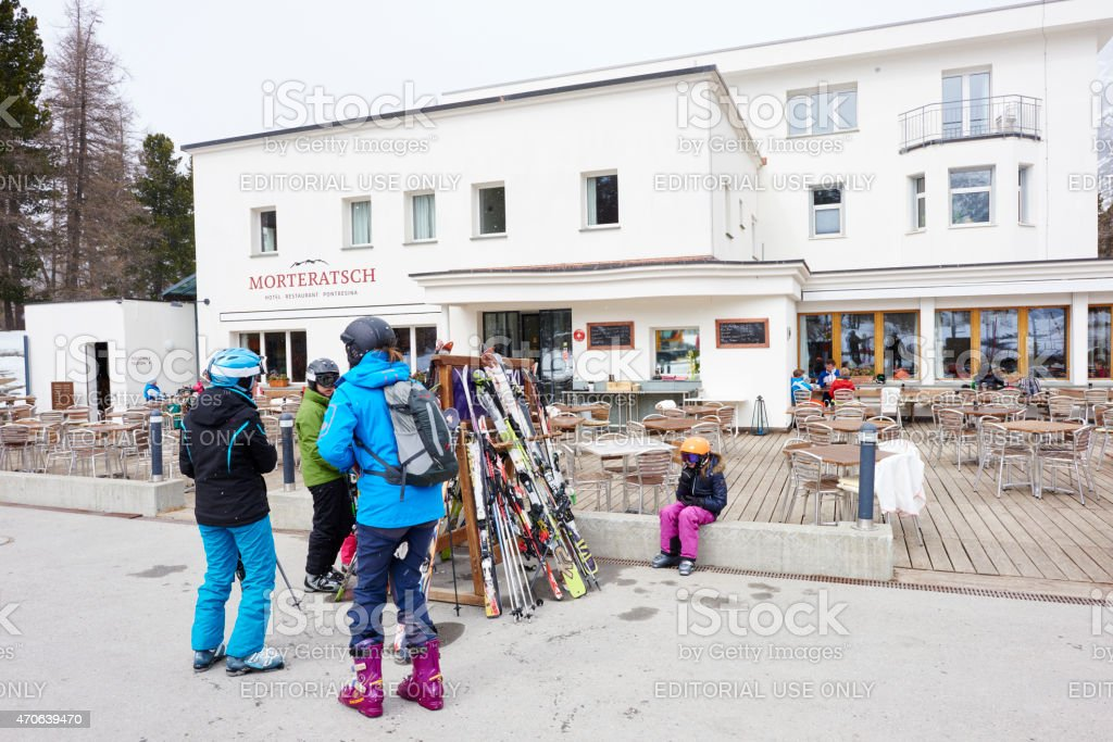 Tourists Arriving at Morteratsch Hotel stock photo