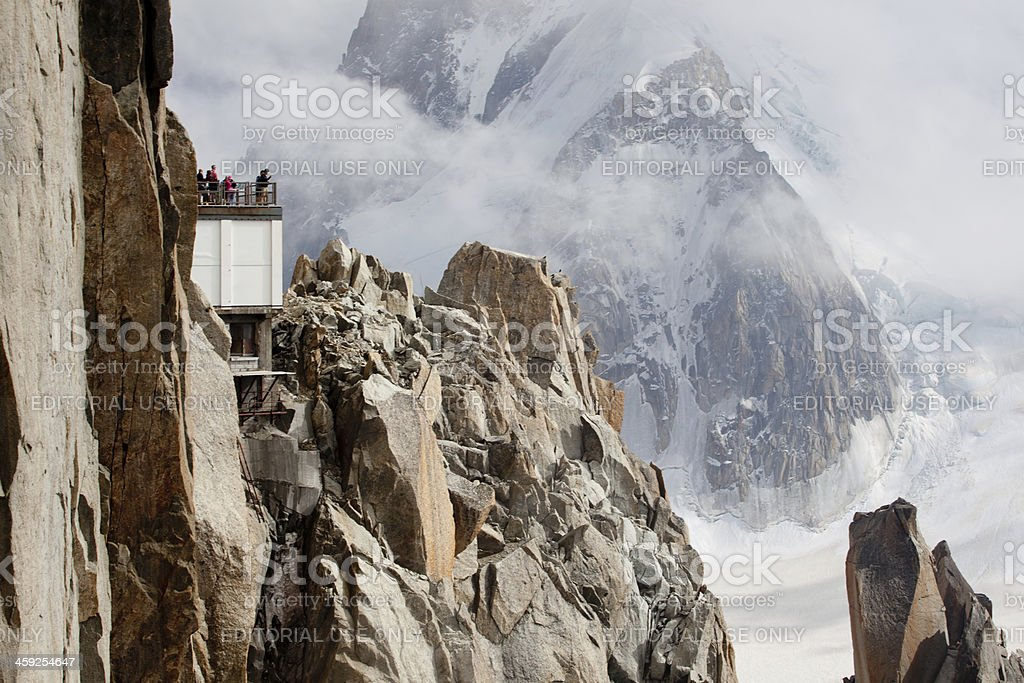 tourists at Aiguile du Midi in the French Alps royalty-free stock photo