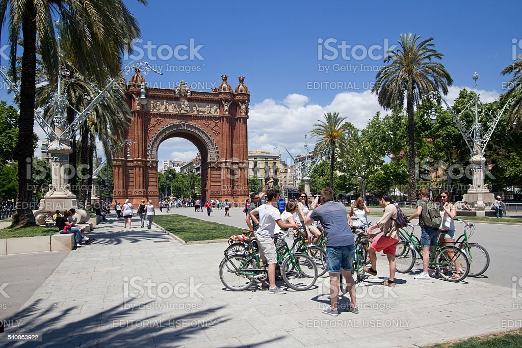 Tourists at Arc de Triomf in Barcelona stock photo