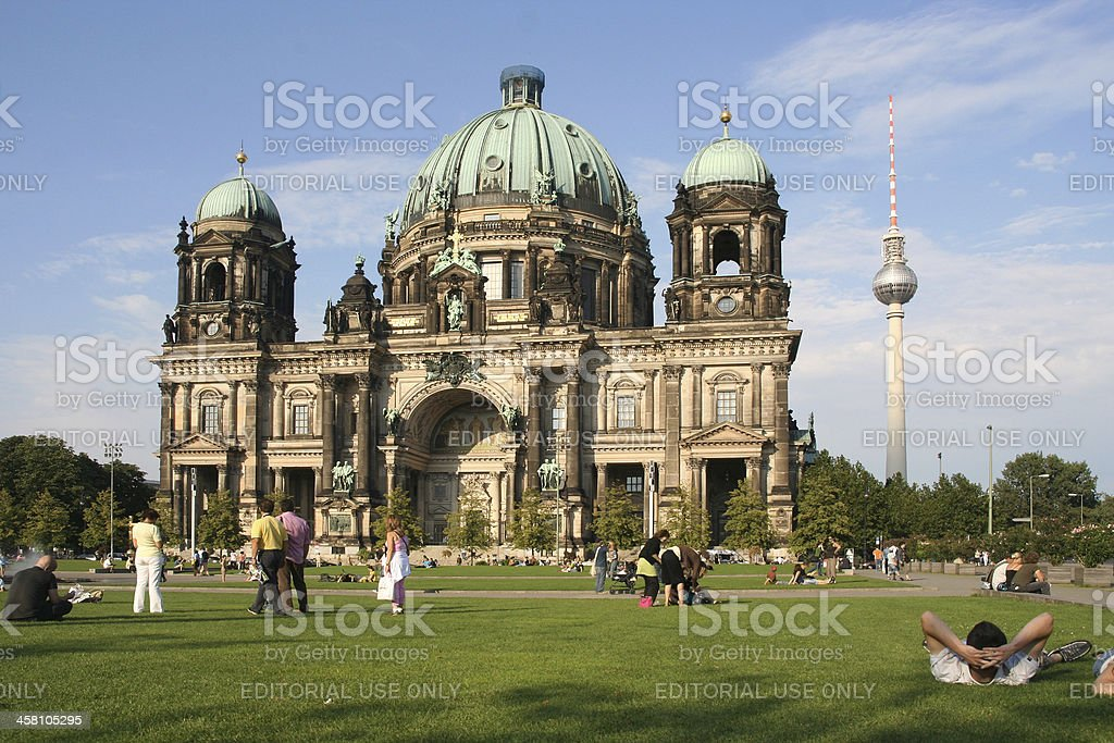 Tourists at Berlin cathedral royalty-free stock photo
