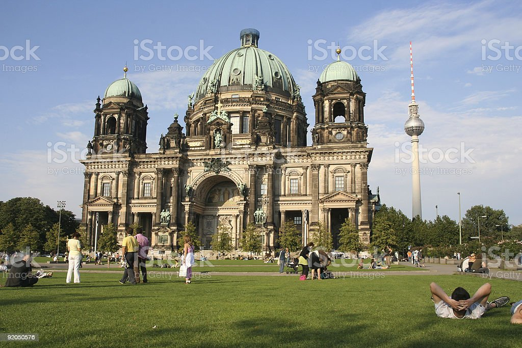 Tourists at Berlin cathedral stock photo