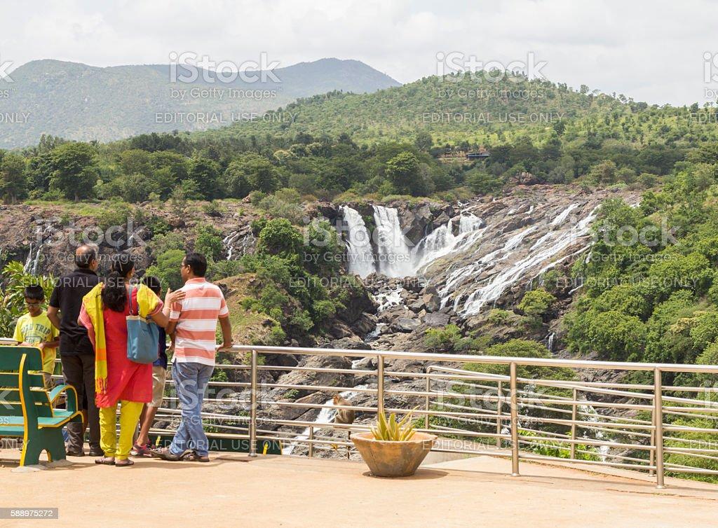 Tourists at Bharachukki waterfall, Karnataka, India stock photo