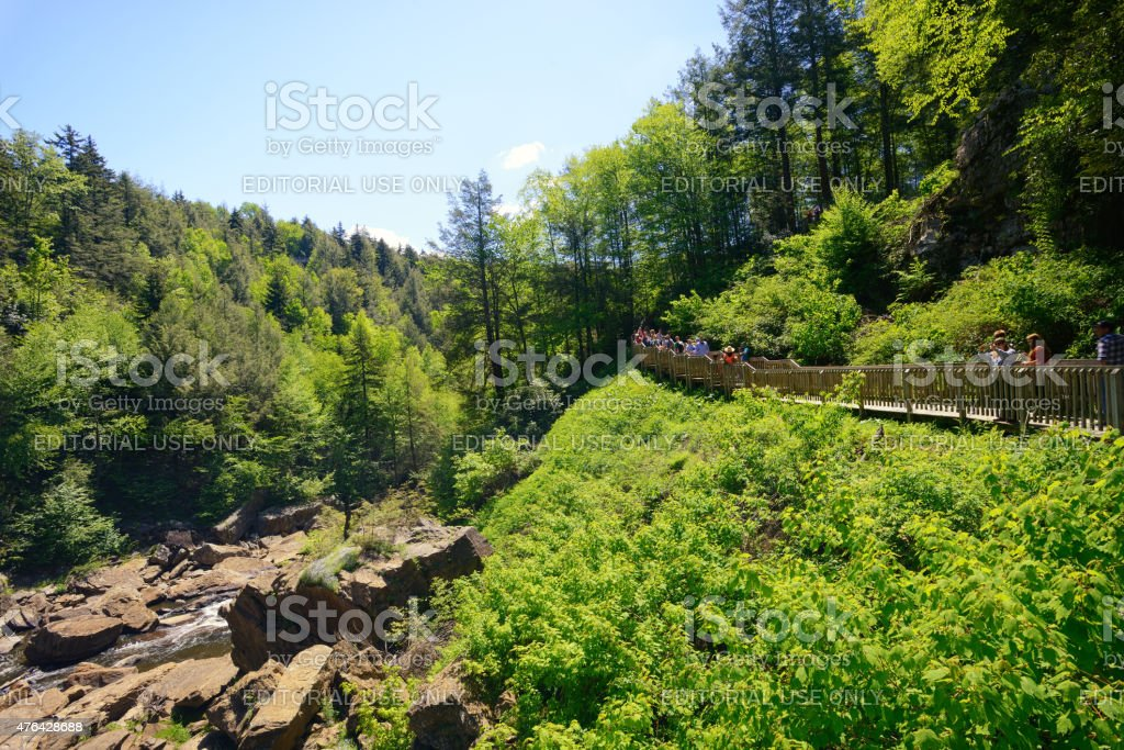 Tourists at Blackwater Falls State Park in West Virginia stock photo
