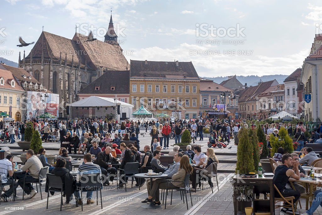 Tourists at Brasov royalty-free stock photo