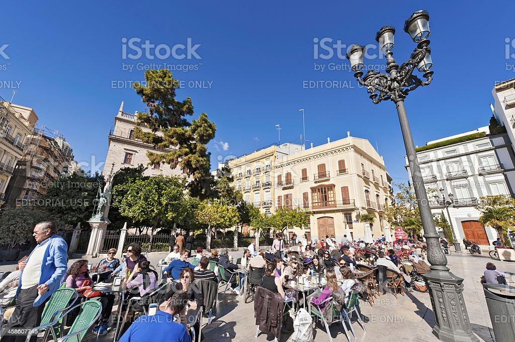 Tourists at busy al fresco pavement cafe Valencia Spain stock photo
